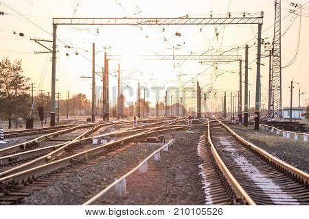 An Empty Railway Sorting Station Or Terminal With Lots Of Junction, Crossroads, Semaphore Showing Re