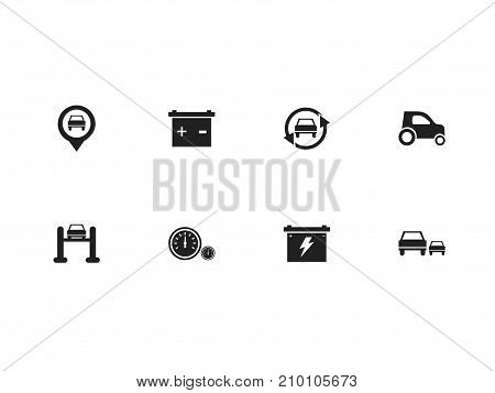 Set Of 8 Editable Vehicle Icons. Includes Symbols Such As Speedometer, Race, Car And More
