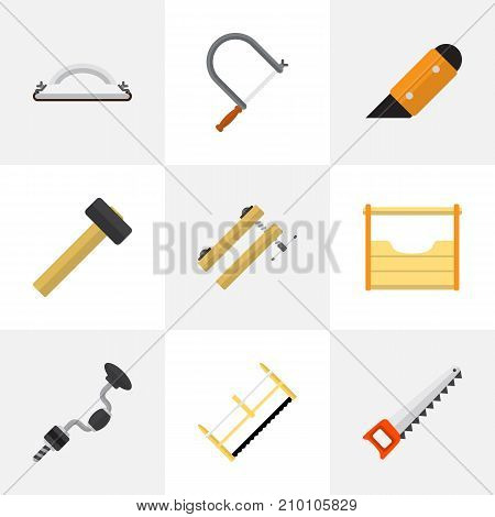 Set Of 9 Editable Equipment Flat Icons. Includes Symbols Such As Boer, Malleus, Knife And More