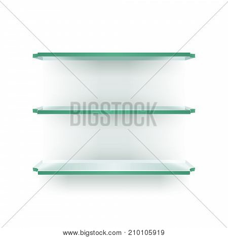 Three glass shelves in perspective on a white wall with shadows. Furniture for presentation and exhibition of objects. Empty glass shelves for displaying goods or services. EPS 10