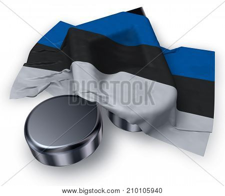 music note symbol and estonian flag - 3d rendering
