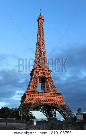 High Eiffel Tower Illuminated With The Sun, In Paris, France