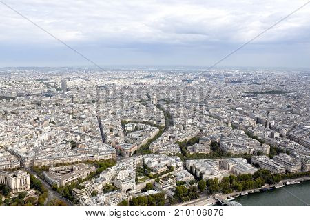 Triumphal Arch And Paris From An Aerial View, France