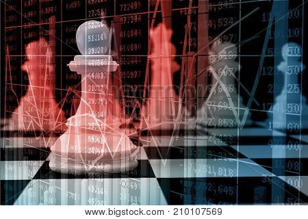 Double Exposure Of White Chess On Chessboard With Bar And Line Graph Over Stock Market