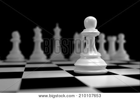 Close up of 3d render White Chess pieces on Chessboard as Strategy Sport Game Concept.