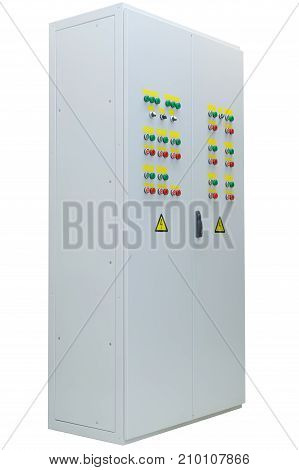 Electric outdoor double door wardrobe with lights buttons and switches. Side view on the left. Professional automation. The reliability and safety.