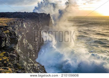 Storm waves at the west coast of Iceland