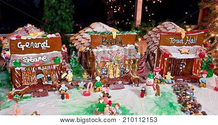 This holiday image is a homemade gingerbread town with a general store bank and town hall with cookies and candy decorating the entire display.
