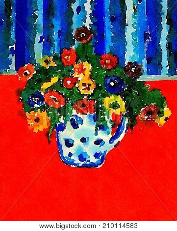Beautiful Vase On red Carpet with Flowers