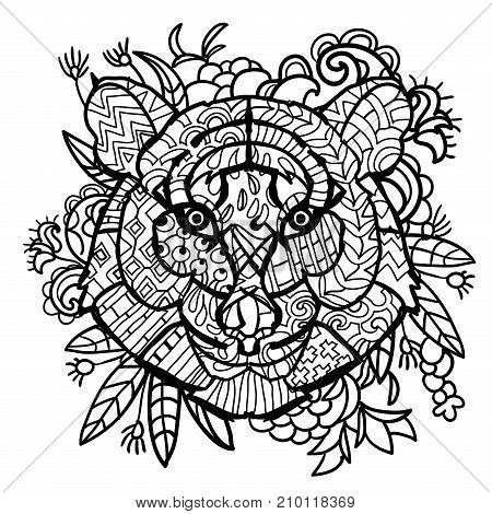Hand drawn doodle outline tiger head decorated with ornaments.Vector zen art illustration.Floral ornament.Sketch for tattoo or coloring pages.Boho style.