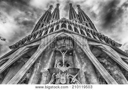 Passion Facade Of The Sagrada Familia, Barcelona, Catalonia, Spain