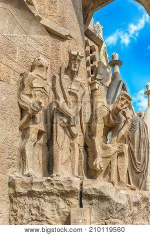 Detail Of The Passion Facade, Sagrada Familia, Barcelona, Catalonia, Spain