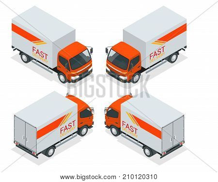 Isometric Cargo Truck transportation. Fast delivery or logistic transport. Flat vector illustration. For infographics and design games. Car for the carriage of goods.