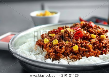 Chili Con Carne with rice, close up