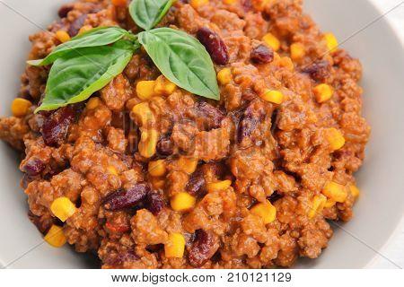Chili con carne in plate, closeup