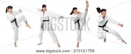 Collage with young woman practising karate on white background