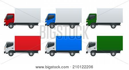 Isometric Cargo Truck transportation. Fast delivery or logistic transport. Easy color change. Template vector isolated on white View side.