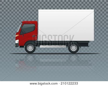 Isometric Cargo Truck transportation on transparent. Fast delivery or logistic transport. Easy color change. Template vector isolated on white View side.