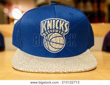 New York October 20 2017: New York Knicks hat on sale in the NBA store in Manhattan.