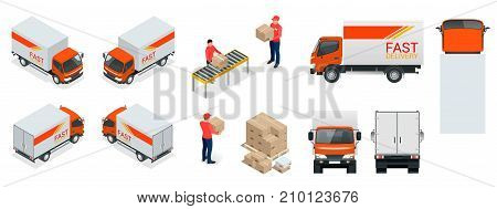 Cargo Truck transportation, delivery man, boxes. Fast delivery or logistic transport. Easy colour change. Template vector isolated on white View front, rear, side, top and isometric.