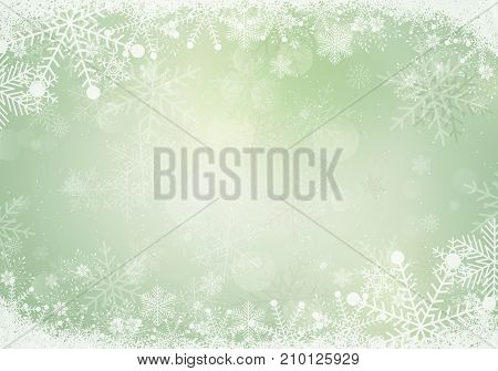 The Gradient green winter snowflake border with the snow