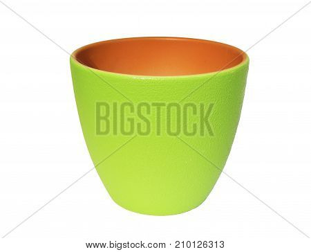 A bright green ceramic flower pot white background