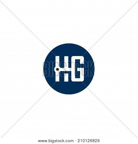 HG letter logo circle design vector illustration template, H letter logo vector, letter H and G logo vector, creative Letter HG letter logo
