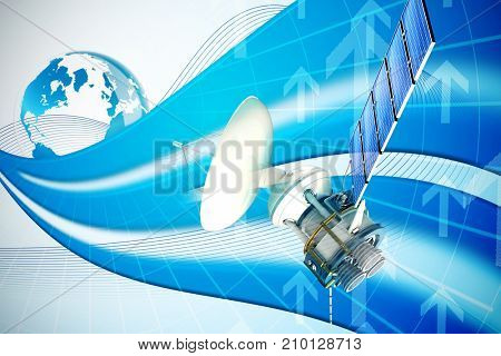 3d image of solar power satellite against global business graphic in blue