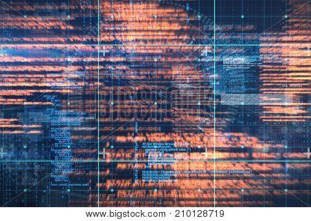 Blue data against digitally generated image of speedometer