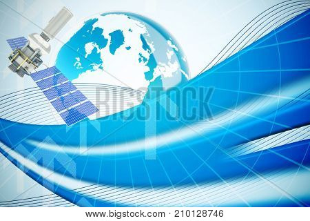 Vector image of3d modern solar satellite against global business graphic in blue