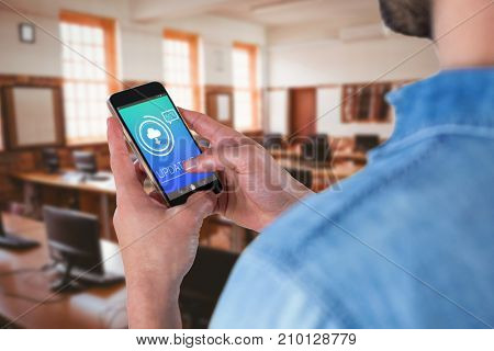 Man using mobile phone against update text with download symbol