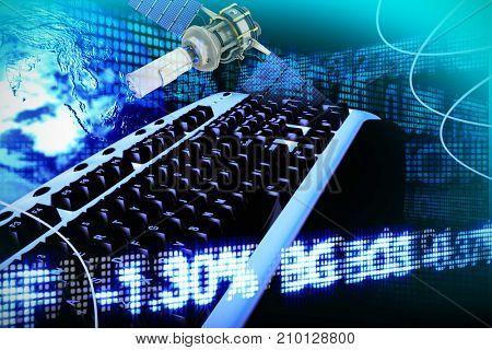 3d illustration of modern solar satellite against business and stock exchange