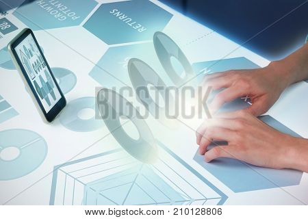 Hand typing on invisible keyboard against composite image of graph representations