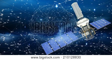 Vector image of3d modern solar power satellite  against connection dots on blue background