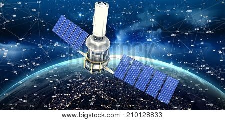 Digitally generated image of3d modern solar satellite against illuminated planet earth seen from space