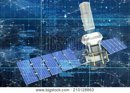3d image of modern solar power satellite  against connection dots on blue background