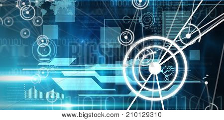 Futuristic black background with circles against blue and black technology interface