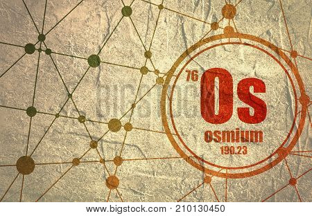 Hassium chemical element. Sign with atomic number and atomic weight. Chemical element of periodic table. Molecule And Communication Background. Connected lines with dots. Distress grunge texture