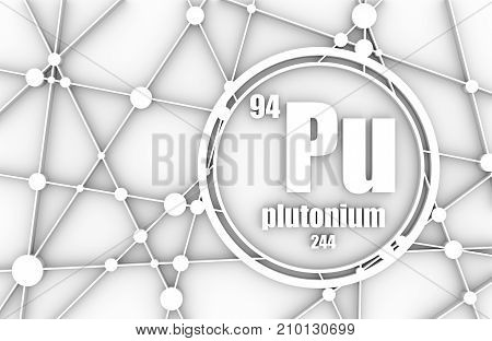 Plutonium chemical element. Sign with atomic number and atomic weight. Chemical element of periodic table. Molecule And Communication Background. Connected lines with dots. 3D rendering