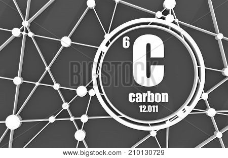 Carbon chemical element. Sign with atomic number and atomic weight. Chemical element of periodic table. Molecule And Communication Background. Connected lines with dots. 3D rendering