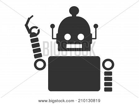 Happy cute vintage robot showing the okay gesture with his fingers. Robotics industry relative image.