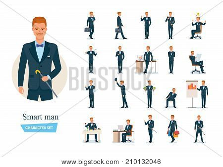 Set of smart man cartoon character. Man communicate on phone, thinks, works, carries out purchases in store, conducts presentations and seminar, rests, meets with partners, dines. Vector illustration.