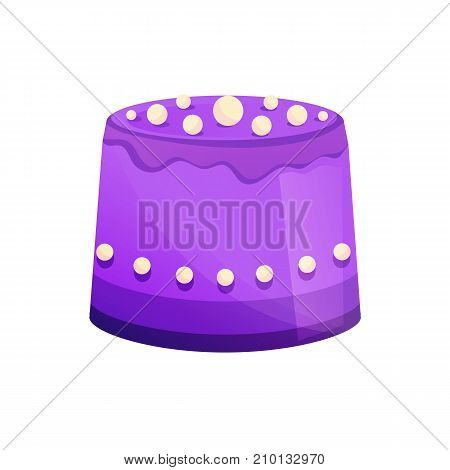 Beautiful delicious, decorative cake, with glaze and biscuit. Sweet baked desserts. Delicious food. Vector illustration.