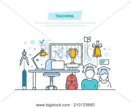 Teaching and online education. Business training, internet courses, consulting, distance e-learning and e-books, webinar, knowledge, workplace. Illustration thin line design of vector doodles