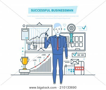Successful businessman. Success at work, learning, business. Management, leadership, partnership, career growth. Successful team leader, businessman Illustration thin line design of vector doodles