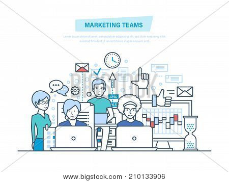 Marketing teams. Corporate business group people, creative team, cooperation, collaboration, partnerships, teamwork. Working together to achieve business goals. Illustration thin line design.