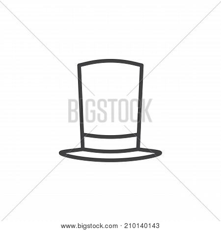Top hat line icon, outline vector sign, linear style pictogram isolated on white. Symbol, logo illustration. Editable stroke