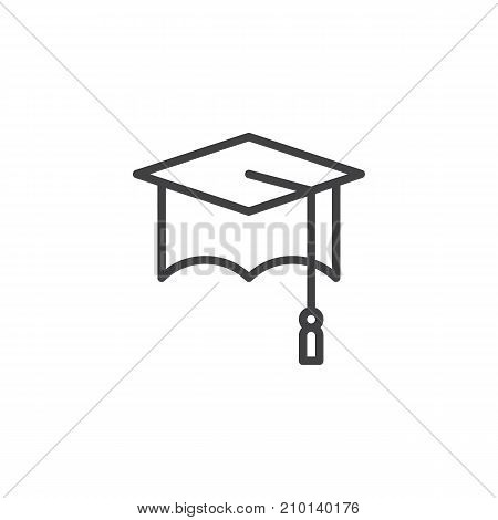 Graduation cap line icon, outline vector sign, linear style pictogram isolated on white. Symbol, logo illustration. Editable stroke