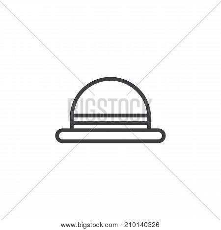 Men's hat bowler line icon, outline vector sign, linear style pictogram isolated on white. Symbol, logo illustration. Editable stroke