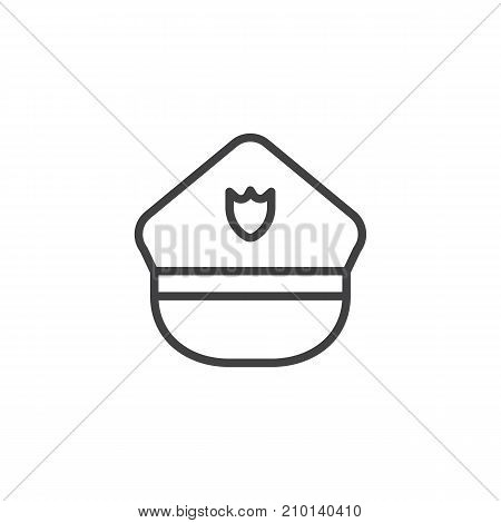 Police hat line icon, outline vector sign, linear style pictogram isolated on white. Symbol, logo illustration. Editable stroke